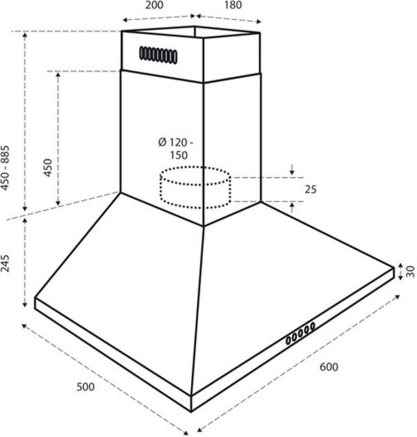 Inventum Afzuigkap – Wandschouw – AKP6000RVS –
